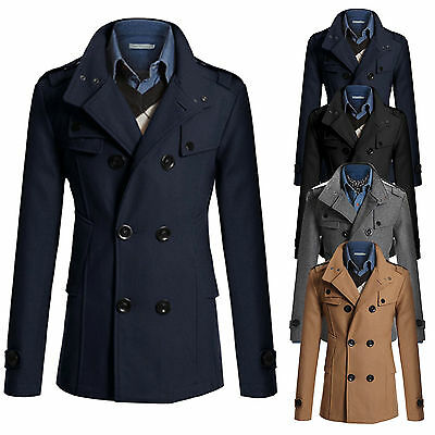 Mens Jacket Warm Winter Trench Long Coat Slim Casual Smart Windbreaker Peacoats