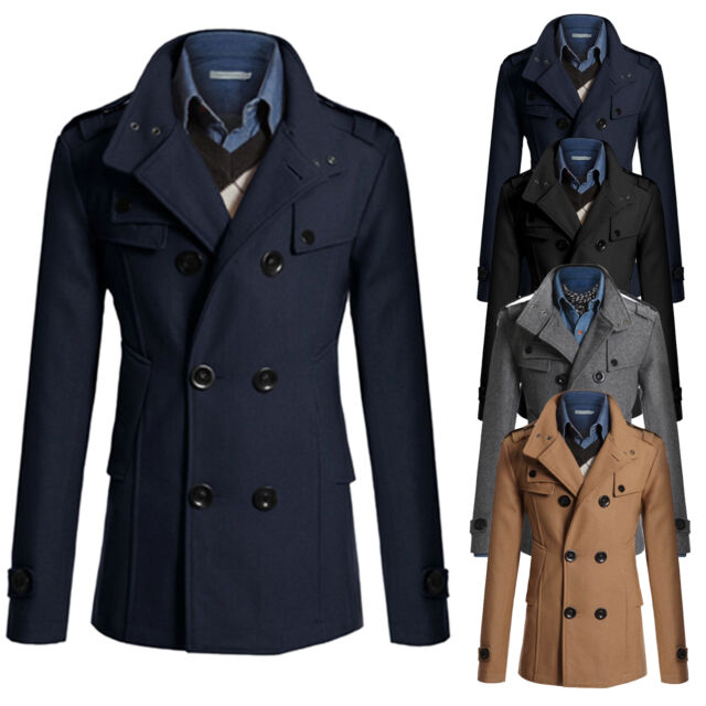 US Mens Double Breasted Long Trench Coat Winter Outwear Jacket Overcoat Peacoat