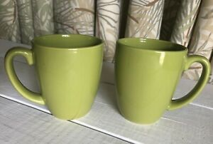 2-Corelle-Stoneware-Mug-Set-Lime-Olive-Pea-Green-Mug-Coffee-Cups-Drinkware