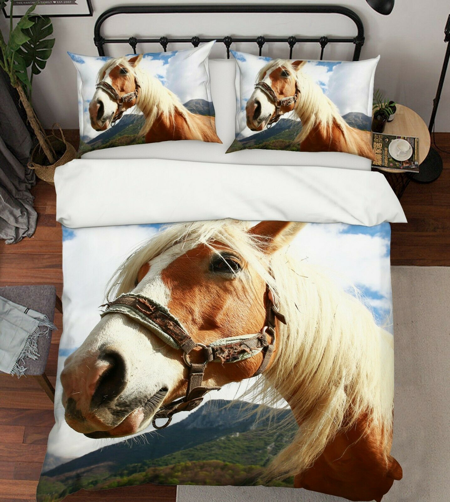 3D Horse Sky G61 Animal Bed Pillowcases Quilt Duvet Cover Set Queen King Wendy