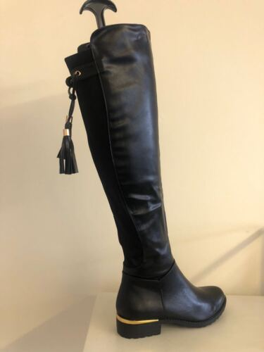 Boutique Stretch High Over The Knee Low Flat Block Heel Riding Boots PLR2F