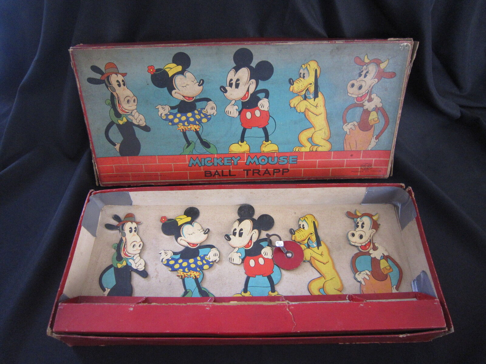 AC443 MIGRA JEUX MICKEY MOUSE BALL TRAPP 1940 40'S MADE IN FRANCE FRENCH RARE