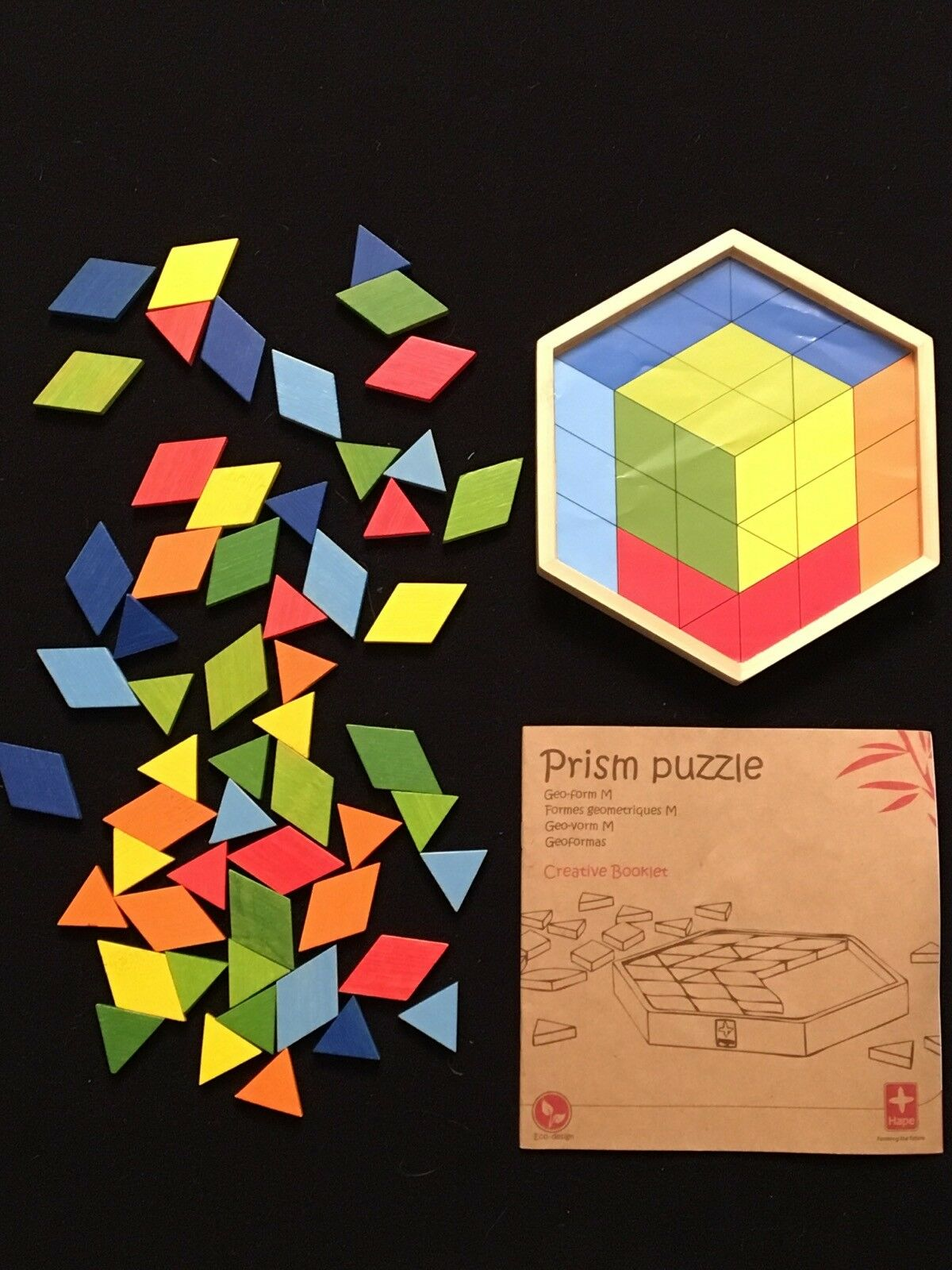 """Hape Toys 6.5"""" Small Moasaic Prism Puzzle Wooden colorful Eco Geo-Form"""