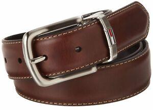 Tommy-Hilfiger-Men-039-s-Leather-Reversible-Dress-Belt-In-Black-Brown-11tl08x014
