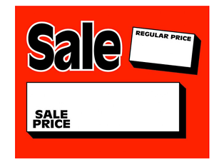 "100-3.5/"" x 5.5/"" Sale//Reg Price cards for Retail Stores Nice Signage Signs"