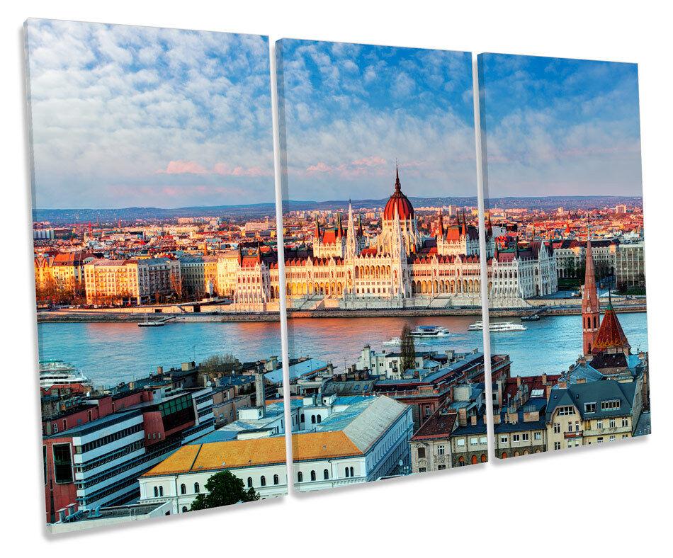 Budapest Ungheria Città Skyline TREBLE TELA Wall Art Box incorniciato stampa