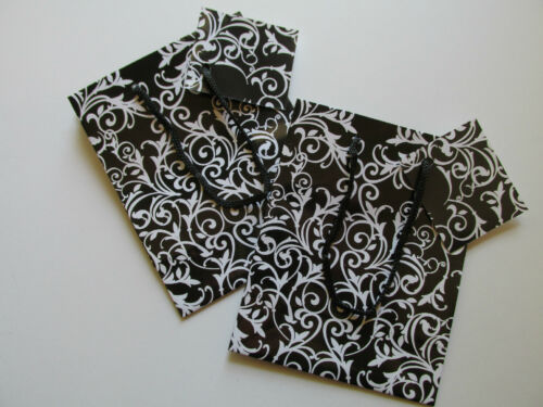 12 Small DAMASK GIFT BAGS wedding shower engagement party bag Black and White