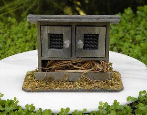 Miniature-Dollhouse-FAIRY-GARDEN-Wood-Double-Door-Chicken-Coop-Bunny-Hutch