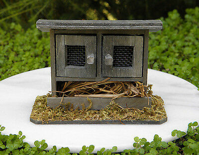 Miniature Dollhouse FAIRY GARDEN ~ Wood Double-Door Chicken Coop Bunny Hutch
