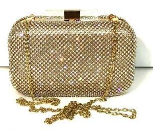 Prom Gold Diamond Evening bag Crystal Stone Clutch Purse Party Wedding Bridal