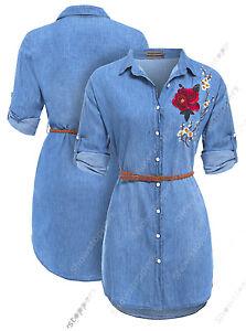 Mujer-Largo-Floral-Camisa-Denim-Vestido-Mujer-vaqueros-vestido-talla-8-10-12-14