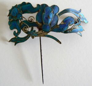 LARGE-Qing-Dynasty-Kingfisher-feather-Hair-Pin-Antique-VINTAGE-Chinese