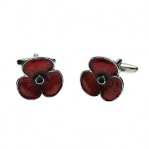 Red-Poppy-Flower-CUFFLINKS-Remembrance-Day-Christmas-Armistice-Present-Gift-Bag