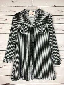 Boho-Jane-Boutique-Women-039-s-S-Small-Black-Striped-Pocket-Tunic-Top-Shirt-Blouse
