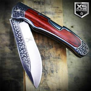 COWBOY-Western-Cherry-WOOD-HANDLE-Lockback-Folding-Pocket-Knife-Ornate-Bolster