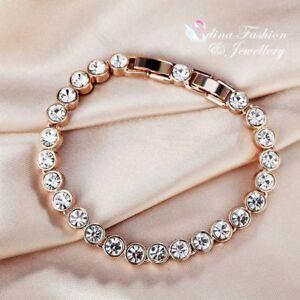 Details About 18k Rose Gold Filled Made With Swarovski Crystal Round Cut Tennis Bracelet