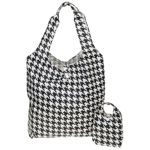 Shopping Trips Equilibrium Fold Up Handybag Houndstooth in Black Uni 69910