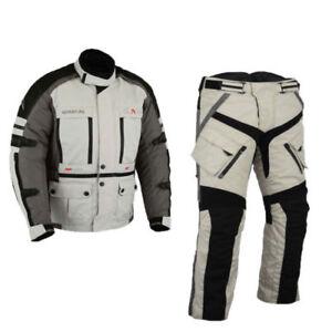 Gris-Textile-Visite-Veste-Pantalon-Blouson-Moto-avec-Protecteurs