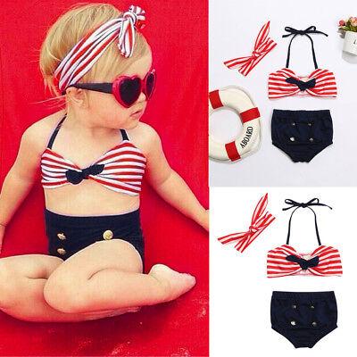 3Pcs Infant Kids Baby Girls Swimwear Straps Swimsuit Bathing Bikini Set Outfits