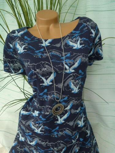 34 bis 50 Tom Tailor Kleid Kurzarm blau mit Aufdurck Gr NE 866