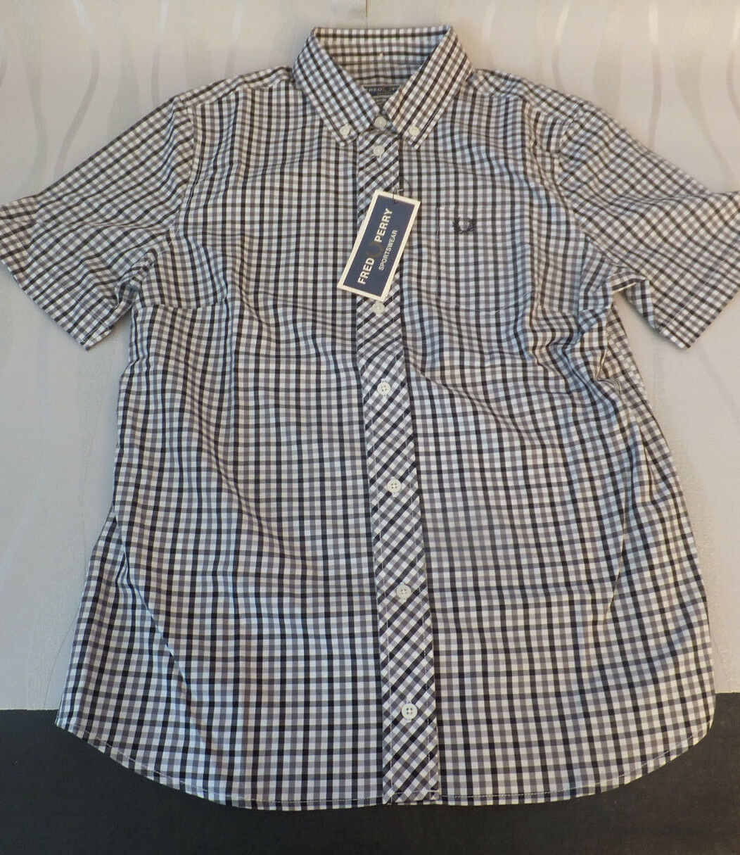 Fred Perry donna uscite Button Down gingam Woven Shirt BLAK BNWT Rp