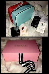 2-Clinique-Makeup-Bag-Box-Case-Perfumes-Travel-Storage-Blue-Pink-LIMITED-EDITION