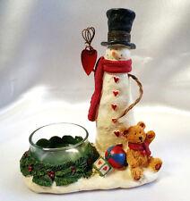 Yankee Candle Christmas Snowman Teddy Bear Wreath Folksy Heart Tealight Holder
