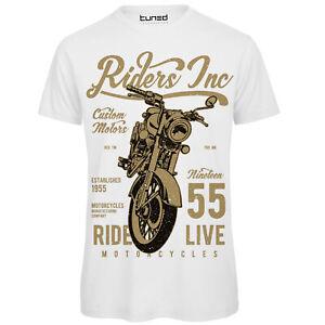 67820c8738 Dettagli su Maglietta Uomo T-Shirt Cotone con Stampa Divertente Moto  Vintage Riders Tuned