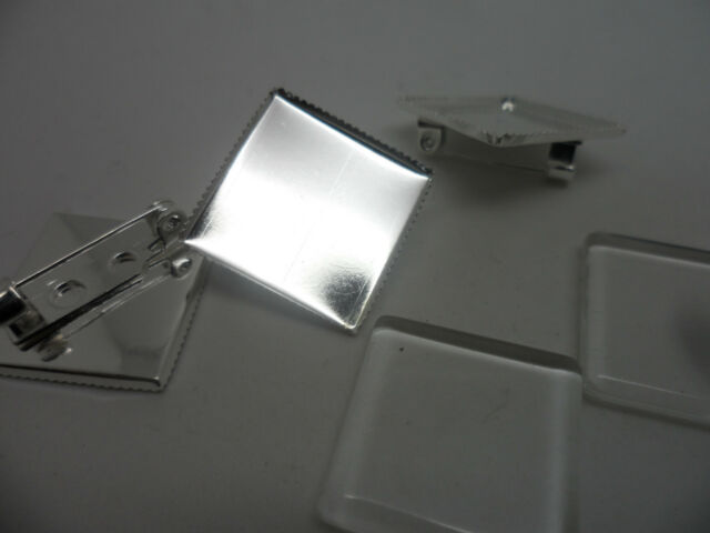 3 x 20mm Square Silver Brooch Making bezels settings bases Cabochon tray 20mm