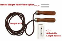 Leather Jumping Rope With Wooden Handle - Hand Made
