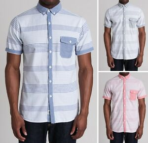 New-Soul-Star-Men-039-s-Slim-Fit-Stripe-Shirt-Short-Sleeve-Pink-Blue-Green-Cotton