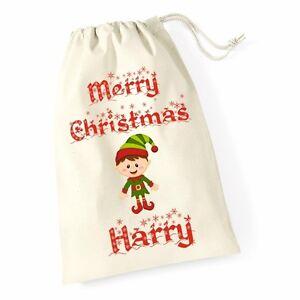 Personalizzata-Buon-Natale-Babbo-Natale-Sacco-Calza-Elfo-Natale-Regalo