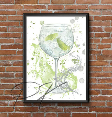 Watercolour Splash Gin /& Tonic Drink Wall Art Print Kitchen Poster A4 size