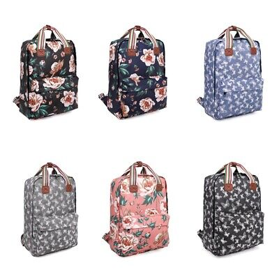 Ladies Oilcloth Backpack Rucksack School College Shoulder Laptop Bag Womens