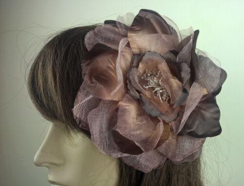 brown satin flower fascinator millinery burlesque wedding hat bridal race
