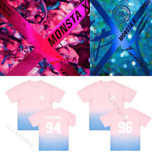 KPOP Monsta x BEAUTIFUL T-shirt SHOWNU Gradient Tshirt Unisex Short Sleeve I.M
