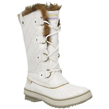 Women's Skechers Tall Quilted Boots Winter White Size 8 #RN759-977