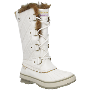 Women's Skechers Tall Quilted Boots Winter White Size 9 #4RN759-090
