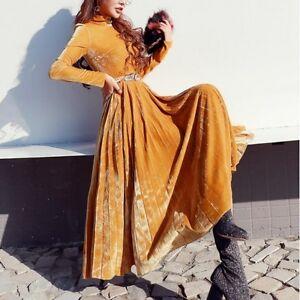 8b9a2b8a4 La imagen se está cargando Elegant-refinada-vestido-traje-amarillo-mujer- amarillo-largo-