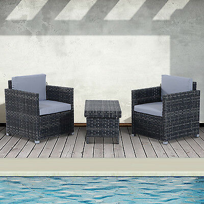 Outsunny 3PC Rattan Sofa Set Outdoor Garden Furniture Seaters Patio Wicker Table