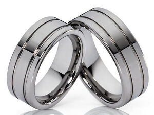 2-Wolfram-Wedding-Rings-Bands-Engagement-Ring-Partner-Ring-Tungsten-amp-Engraving
