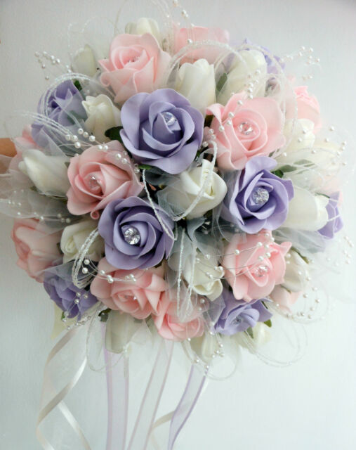 Wedding flowers posy bouquet ivory baby pink light lilac roses with wedding flowers posy bouquet ivory baby pink light lilac roses with tulle mightylinksfo