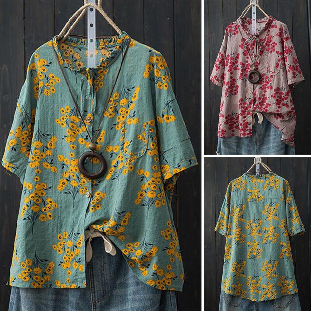ZANZEA Women Cotton Ethnic Long Shirt Tops Frill Casual Buttons Blouse Plus Size