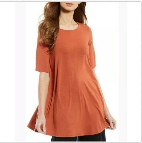 Eileen Fisher Orange Pekoe Viscose Jersey Jewel Neck Tunic Top M NWT