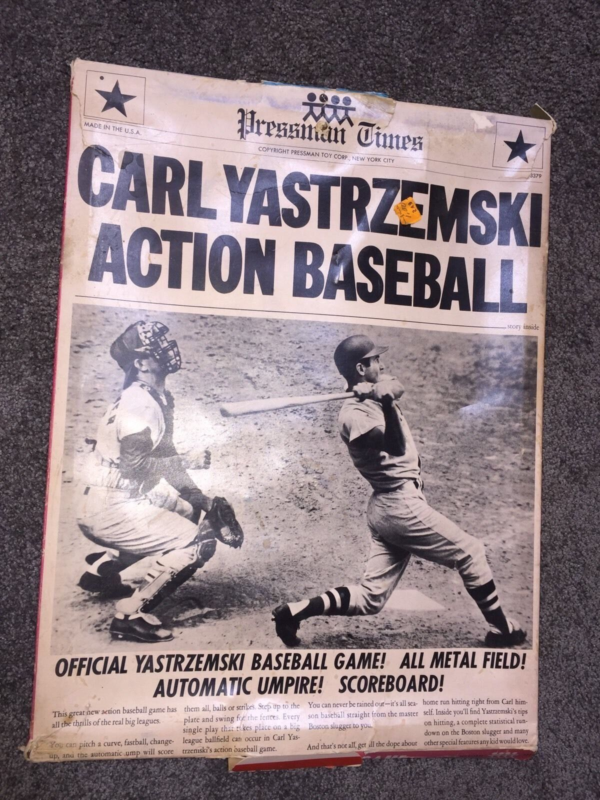 VINTAGE PRESSMAN BOSTON rot SOX CARL YASTRZEMSKI ACTION BASEBALL GAME AUTOGRAPH