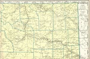 1930 Antique WYOMING State Map Poster Print Size Vintage Map of ...