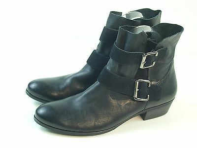 NEW PAUL GREEN Women's Leather Suede Buckle Front Black Booties UK 8 US 10.5