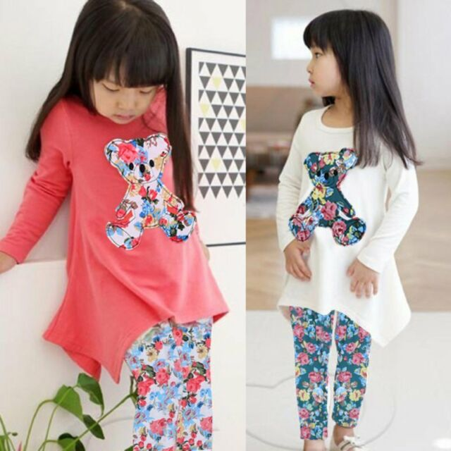 Princess Long Sleeve Irregular Hem Bear T Shirt+Floral Leggings Kids Clothes