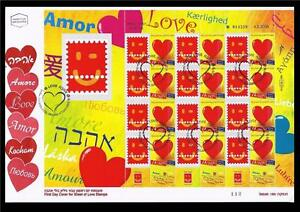 ISRAEL-2009-STAMPS-LOVE-AMOR-GENERIC-SHEET-ON-FDC