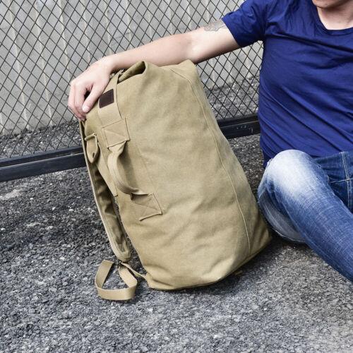 Men/'s Canvas Backpack Rucksack Hiking Travel Duffle Bag Military Handbag Satchel